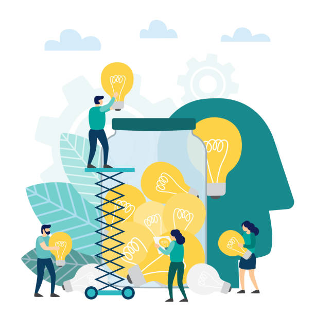 Creative idea with light lamp bulb. Creative idea with light lamp bulb. Searching for new ideas solutions, working together in the company, brainstorming. Vector illustration brainstorming stock illustrations