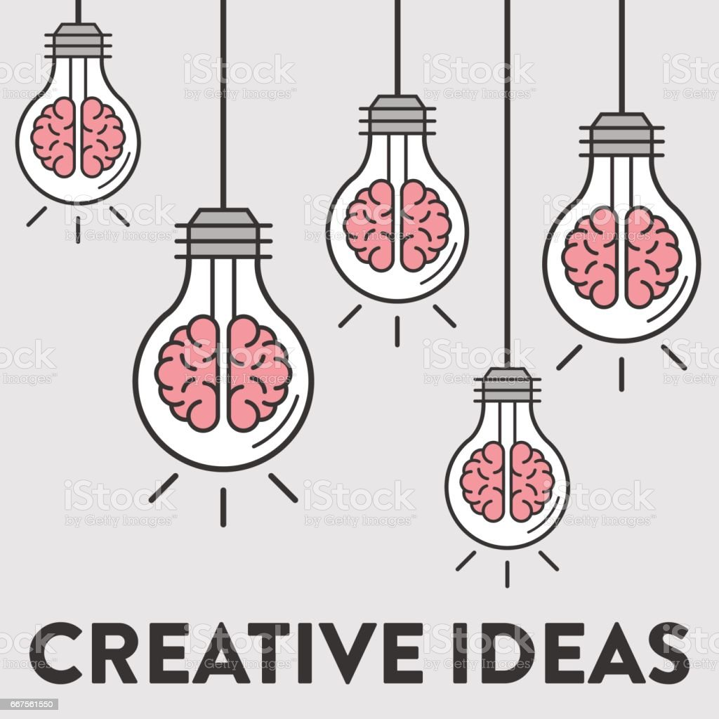 Creative Ideas. Concept Design with Brains inside of lightbulbs. Bright Idea. vector art illustration