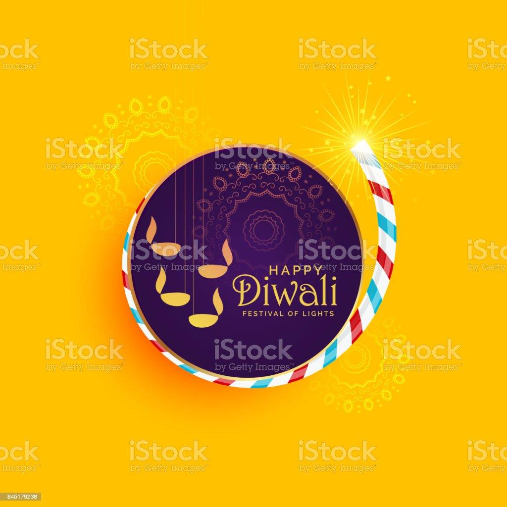 creative illustration of diwali festival of light with burning cracker vector art illustration