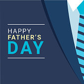 Creative illustration of formal suit and necktie for Happy Father's Day celebration poster design.