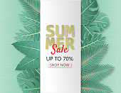 Creative illustration summer sale banner with papercut and tropical leaves background. Summer season design for brochure, web banner, flyer, invitation, poster, advertising. Digital paper cut style,