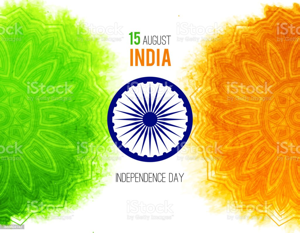 Creative Indian Independence Day concept with ashoka wheel and pattern vector art illustration