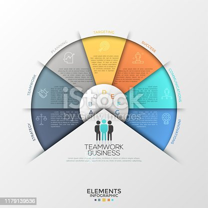 Circular diagram or pie chart divided into 7 colorful sectors with thin line icons, letters and place for text inside. Creative infographic design template. Vector illustration for presentation.