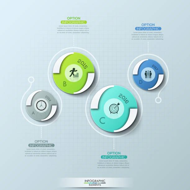 kreative infografie-designvorlage mit 4 runden elementen, piktogrammen, jahrsangaben und textboxen. - storytelling grafiken stock-grafiken, -clipart, -cartoons und -symbole