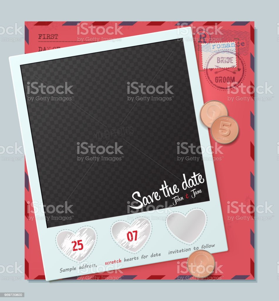 Creative Invitation On Wedding Template From Scratch Off Element In The Shape Of A Heart Save The Date Card Wedding Invitation Card Stock Illustration