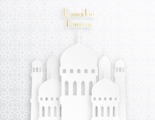 Creative islamic mosque made by paper cutout vector art illustration