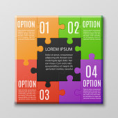 Creative jigsaw puzzle poster template with four options - colorful square banner with text and idea choice concept in game form. Isolated vector illustration.