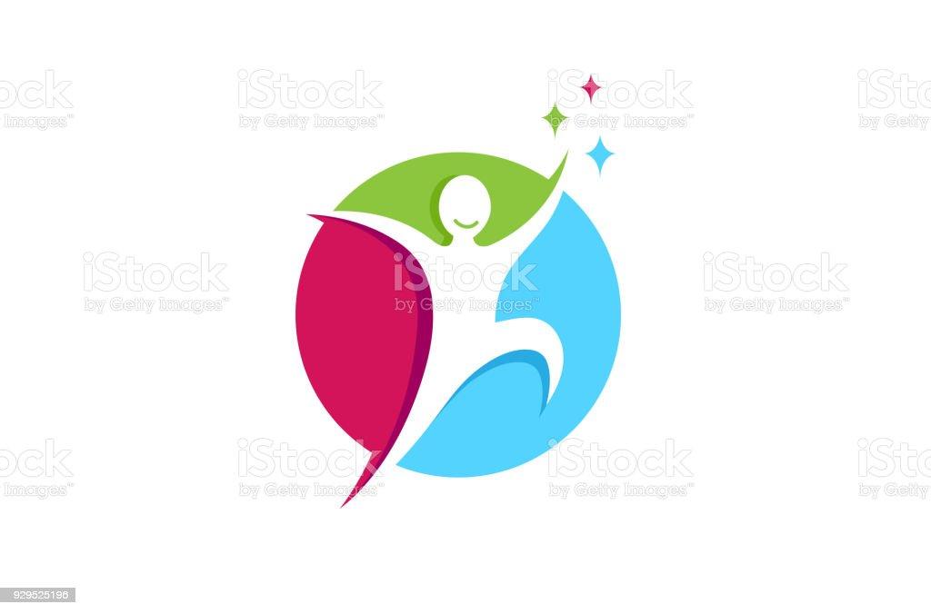 Icono de persona feliz salto creativo, ilustración de icono de persona feliz salto creativo y más vectores libres de derechos de abstracto libre de derechos