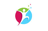 Creative Jumping Happy Person Freedom Metaphor Gift Hope icon,