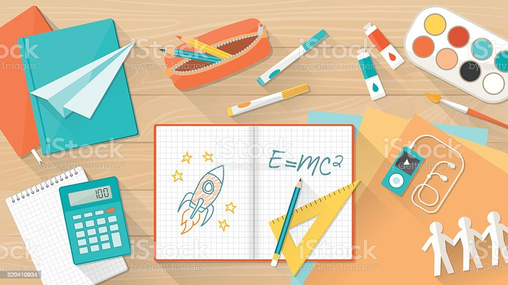 Creative kid desktop vector art illustration
