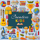 Creative kids background with 3d paper cut signs. Children creativity concept. Vector illustration.