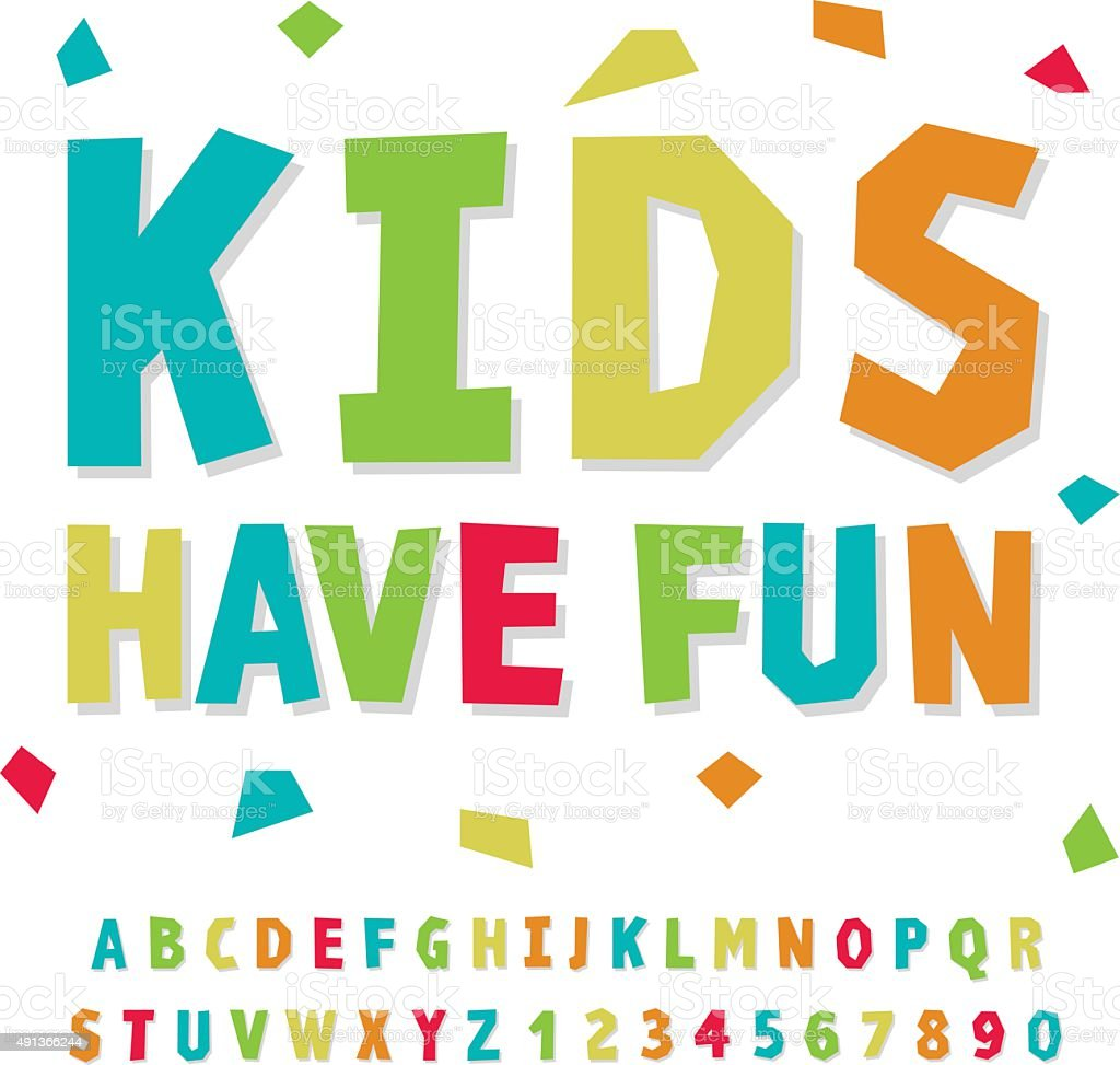creative kids funny alphabet and numbers stock vector art