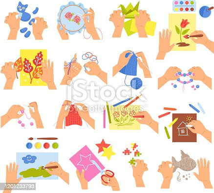 Creative kids hands knitting embroidering folding origami making homemade beads bracelet drawing coloring icons set vector illustration