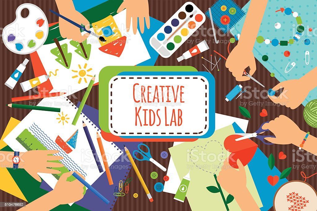 Creative kids lab vector art illustration