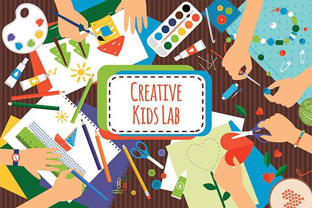 creative kids lab - art and craft stock illustrations
