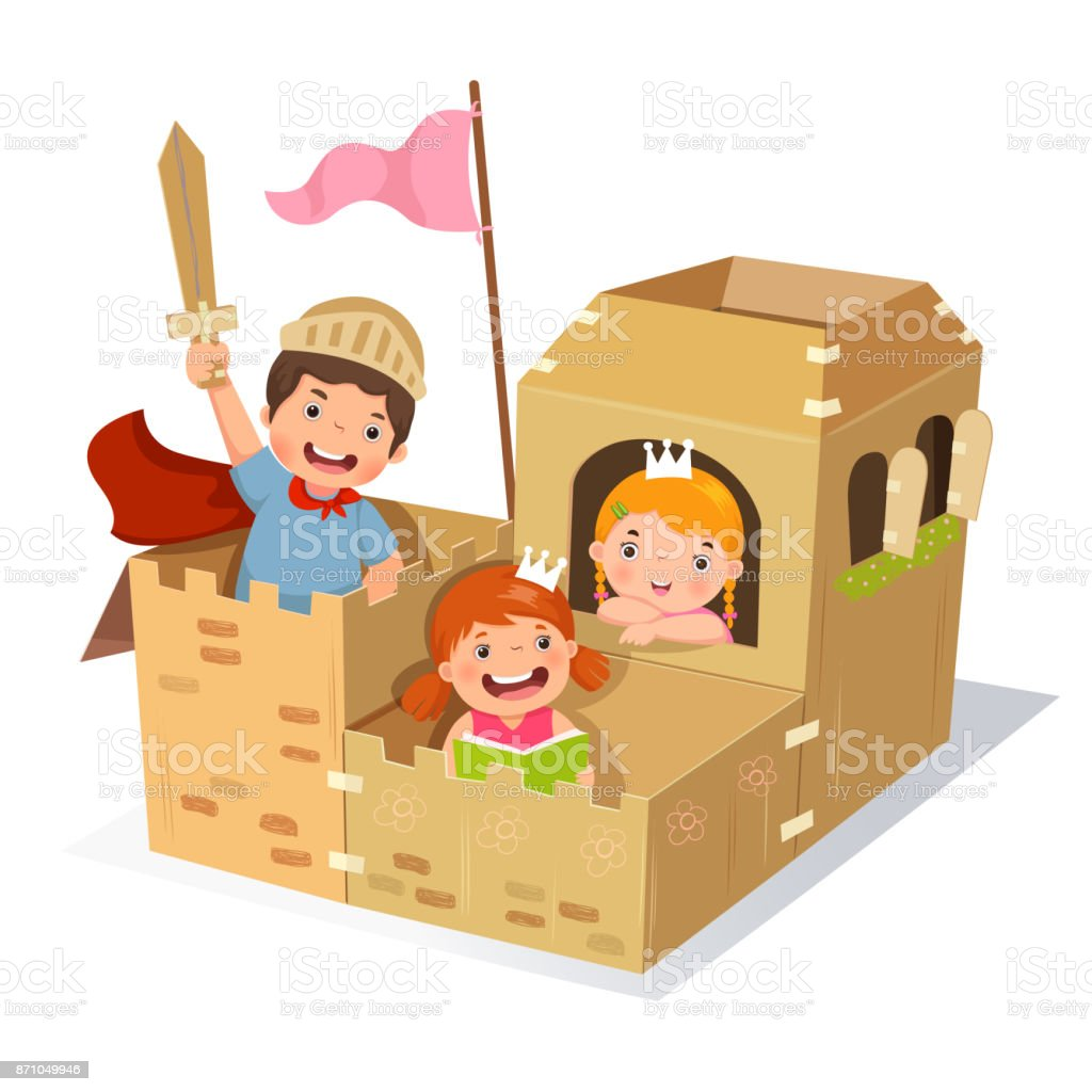 Creative kids playing castle made of cardboard box vector art illustration