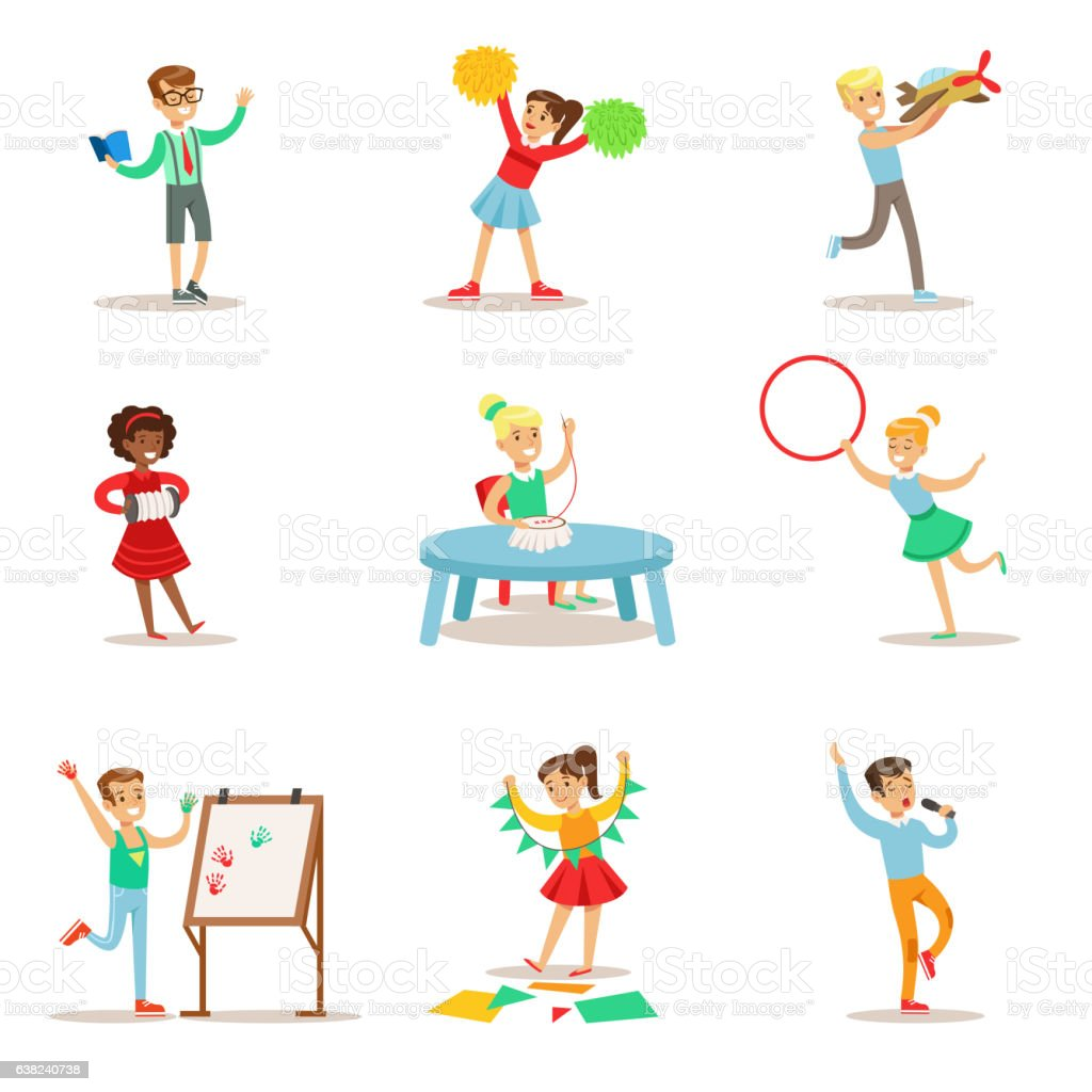 Creative Kids Practicing Different Arts And Crafts vector art illustration