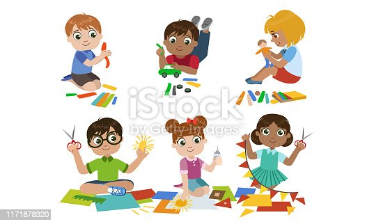 Creative Kids Set, Cute Boys and Girls Cutting with Scssors, Modelling from Plasticine, Childrens Education, Development Vector Illustration on White Background.
