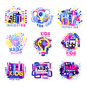 Creative kids set of colorful logo graphic templates, hand drawn vector Illustrations on a white background