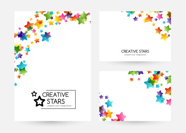 Creative kids vector cards with colorful stars Creative kids design collection. Vector cards with colorful stars,  decoration elements. Vertical banners with corner vignette bedroom borders stock illustrations