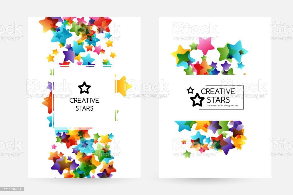 Ilustración de Niños Creativos Tarjetas De Vector Con Estrellas De ...