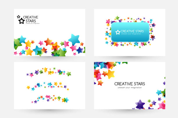 Creative kids vector cards with colorful stars Creative kids design collection. Vector cards with colorful stars,  decoration elements. Horizontal backgrounds, dividers and square frame. bedroom borders stock illustrations