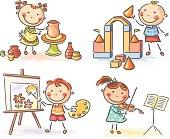 Little kids' creative activities. No gradients.