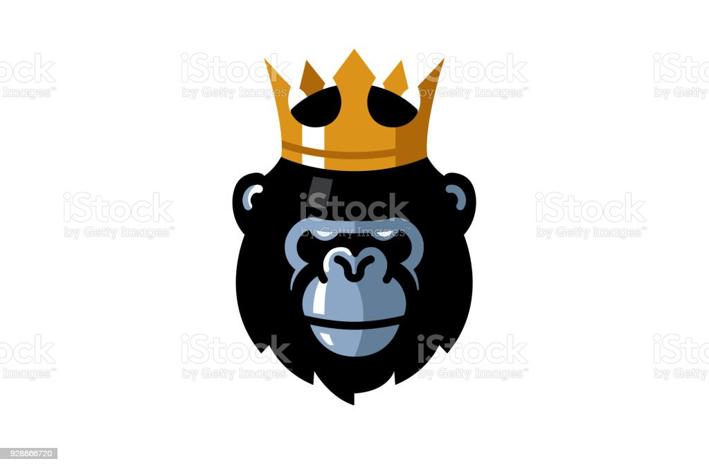 Creative King Gorilla Head symbol vector art illustration