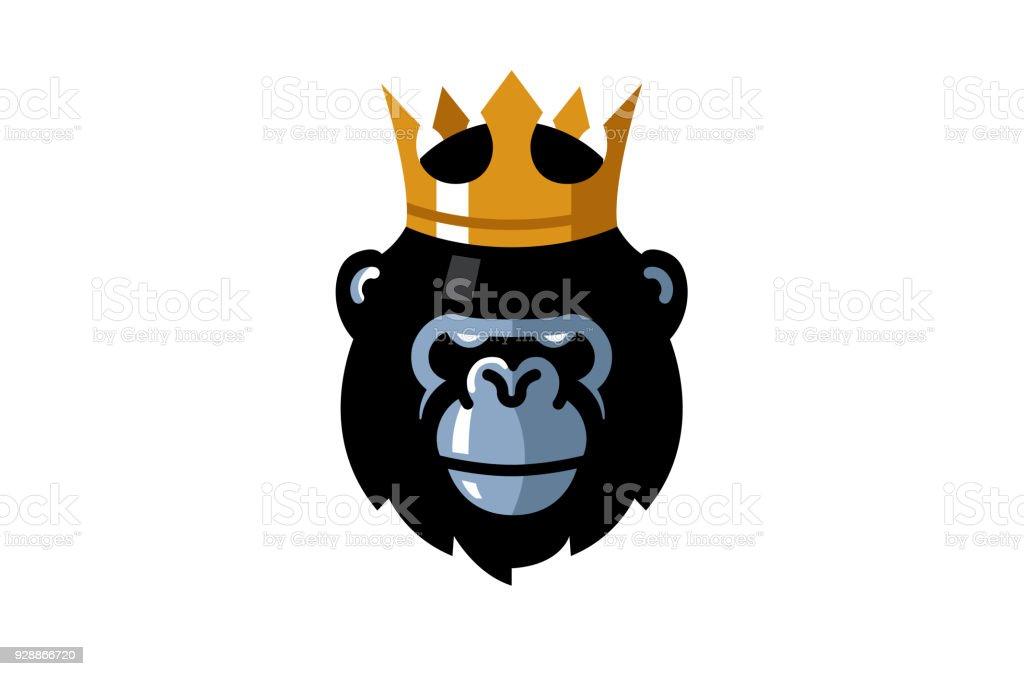 Símbolo creativo rey gorila cabeza - ilustración de arte vectorial