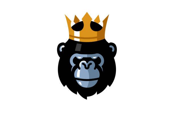 ilustraciones, imágenes clip art, dibujos animados e iconos de stock de símbolo creativo rey gorila cabeza - gorila