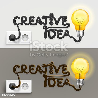 845301446 istock photo Creative lamp with cable outlet 852043092