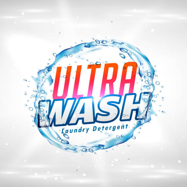 kreative wäsche waschmittel produkt verpackung konzept design vektor - weichspüler stock-grafiken, -clipart, -cartoons und -symbole