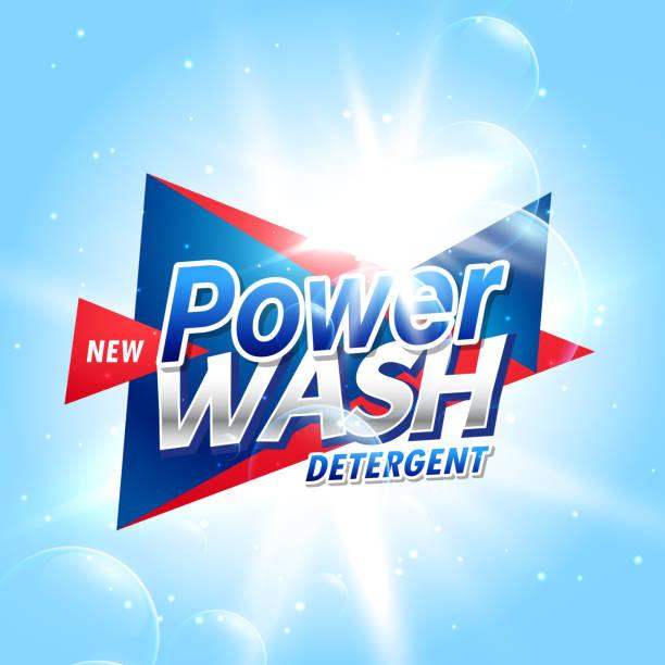 kreative wäsche waschmittel produkt verpackungsdesign konzept vorlage - weichspüler stock-grafiken, -clipart, -cartoons und -symbole