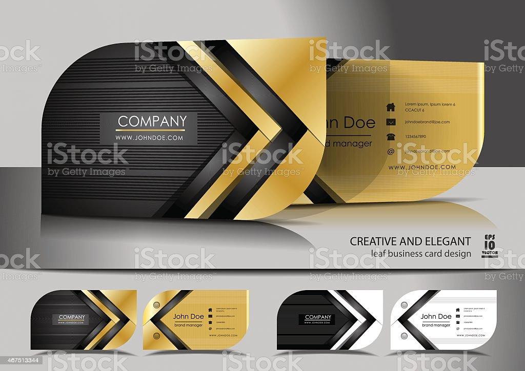 Creative leaf business card design vector art illustration