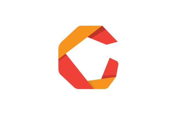 ilustraciones, imágenes clip art, dibujos animados e iconos de stock de símbolo de diseño origami creativo letra c - tipos de letra y tipografía