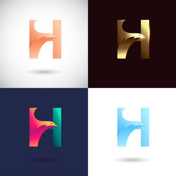 Creative Letter H logo design with different color version. Vector of Bird Logo Concept vector art illustration