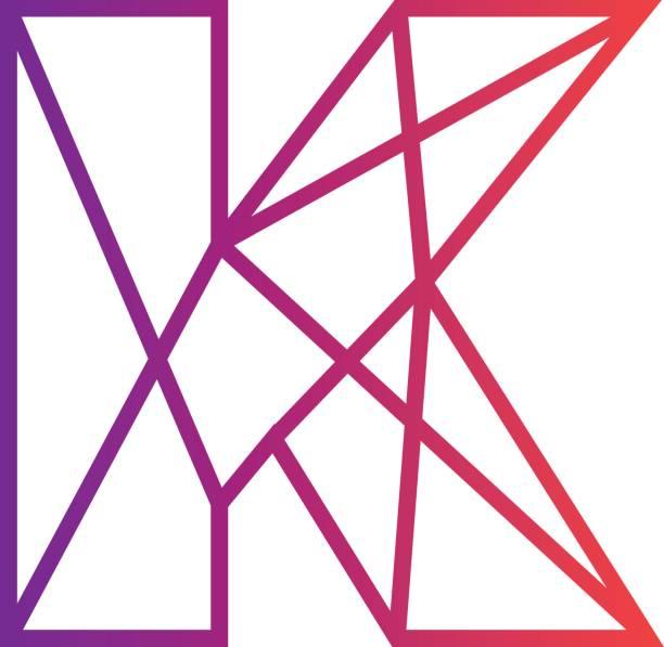 ilustraciones, imágenes clip art, dibujos animados e iconos de stock de letra creativa k símbolo - tipos de letra y tipografía