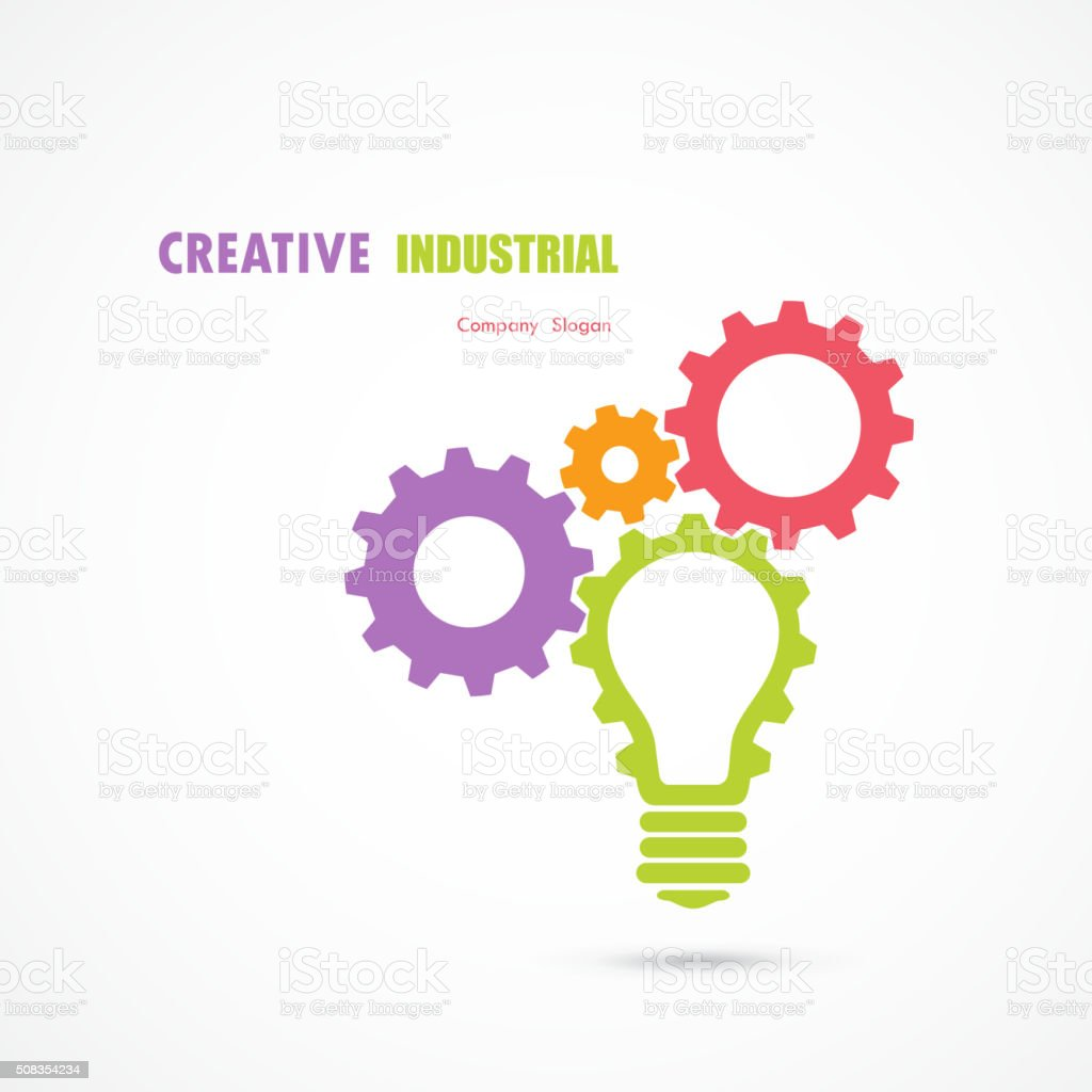 Creative light bulb and gear abstract vector design vector art illustration