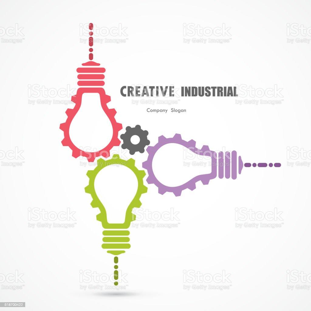 Creative light bulb and gear abstract vector design vector art illustration