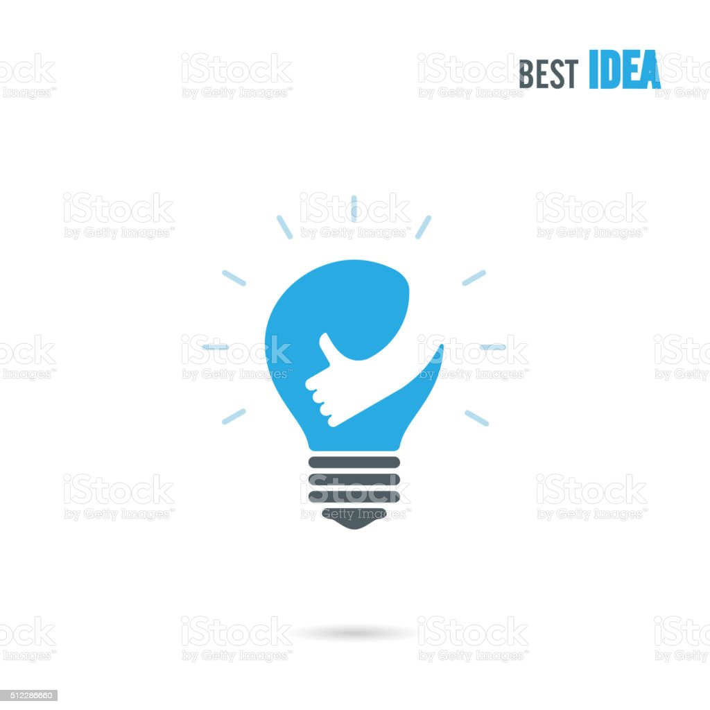 Creative light bulb icon design vector template with small hand. vector art illustration