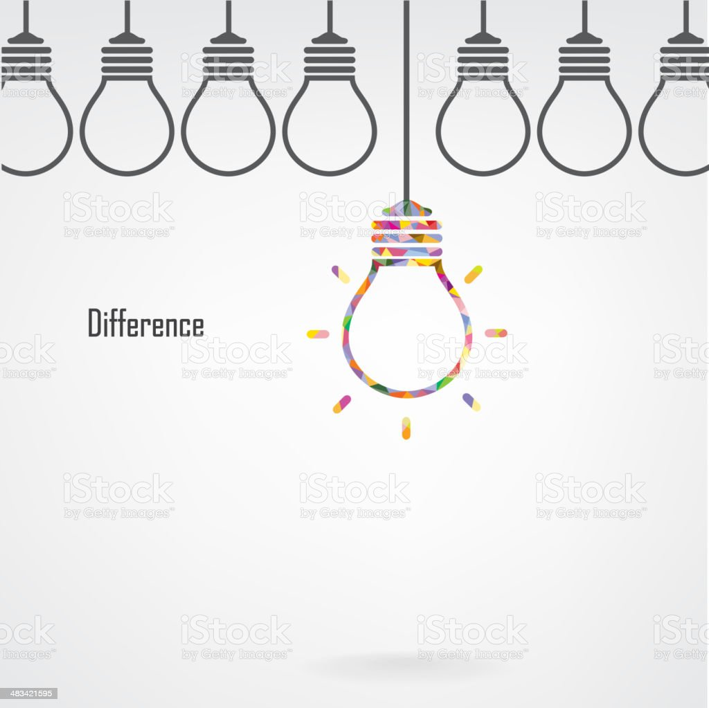 Creative light bulb idea and difference concept royalty-free stock vector art