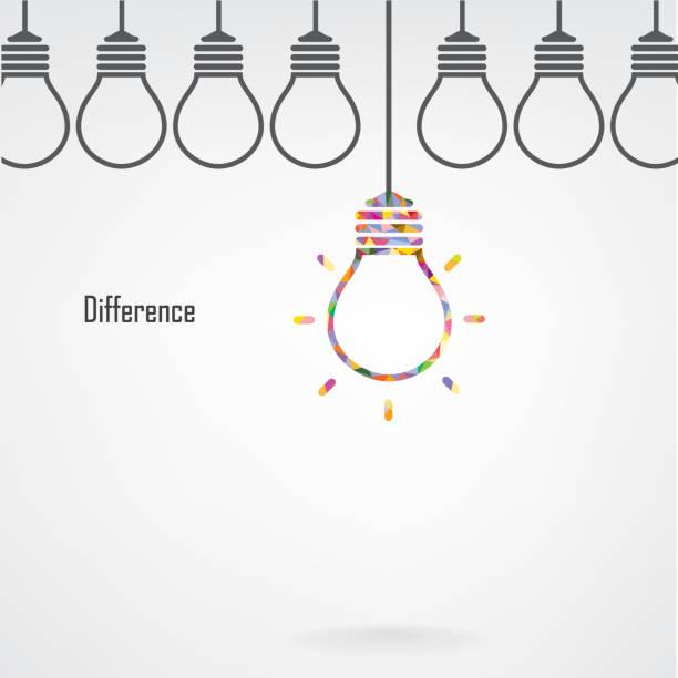 ilustraciones, imágenes clip art, dibujos animados e iconos de stock de creative la idea y bombilla concepto de diferencia - consejero de la escuela
