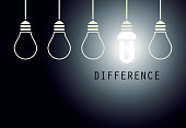 Creative Light Bulb Idea. Energy Saving Lamp Difference Concept