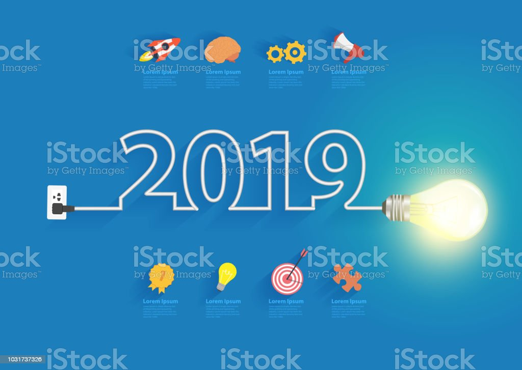 creative light bulb idea with 2019 new year design inspiration rh istockphoto com