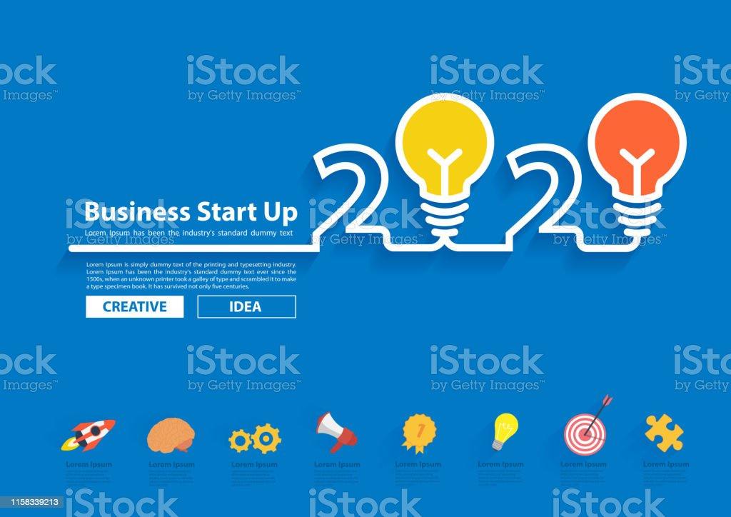 2020 Marketing Ideas Creative Light Bulb Idea With 2020 New Year Design Inspiration