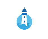 Creative lighthouse Circle Logo Design Vector Symbol Illustration