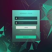creative login ui template form design with technology style background