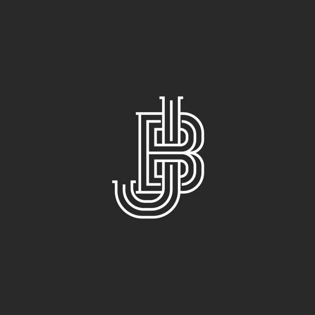 Creative logo JB or BJ initials logo monogram, thin lines two letters together J and B combination Creative logo JB or BJ initials logo monogram, thin lines two letters together J and B combination letter j stock illustrations