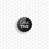 Creative logo template on an abstract background. White pattern, hexagons background.