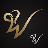 Creative luxury letter W with love design vector symbol